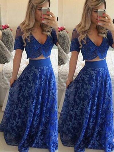 Lace Short Sleeves A-Line/Princess Prom Dresses V-neck Floor-Length (018145910)