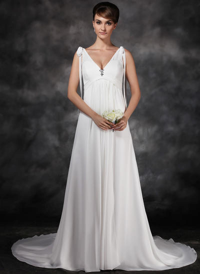 Delicate Court Train A-Line/Princess Wedding Dresses Sweetheart Chiffon Sleeveless (002211266)