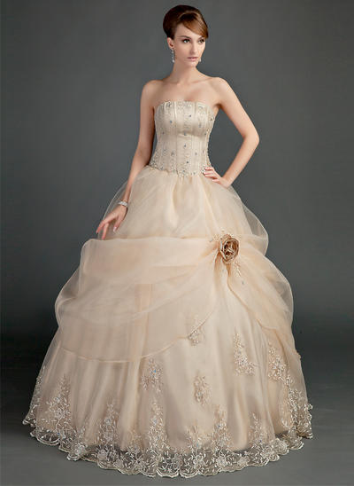 Simple Floor-Length Ball-Gown Wedding Dresses Strapless Satin Organza Sleeveless (002196866)