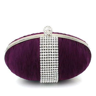 Clutches/Wristlets Wedding/Ceremony & Party Satin/Crystal/ Rhinestone Clip Closure Shining Clutches & Evening Bags (012186385)