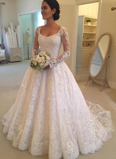 Chic Cathedral Train Ball-Gown Wedding Dresses Scoop Lace Long Sleeves (002147849)