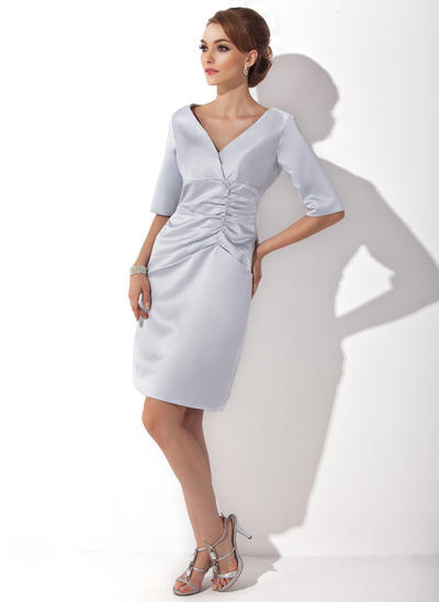 Sheath/Column V-neck Satin 1/2 Sleeves Knee-Length Ruffle Mother of the Bride Dresses (008211188)