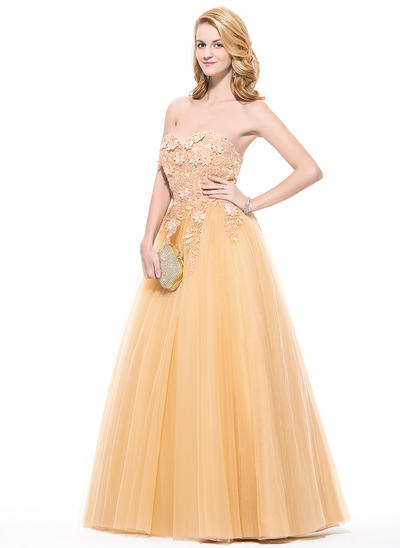Tulle Sleeveless Ball-Gown Prom Dresses Sweetheart Appliques Lace Flower(s) Floor-Length (018075891)