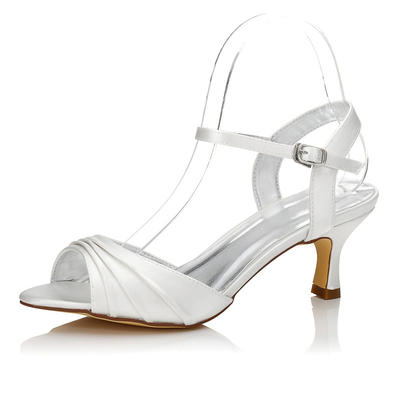 Women's Sandals Slingbacks Dyeable Shoes Low Heel Satin Yes Wedding Shoes (047205960)