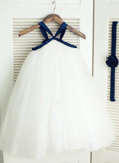 2019 New Ankle-length A-Line/Princess Flower Girl Dresses Straps Tulle Sleeveless (010211890)