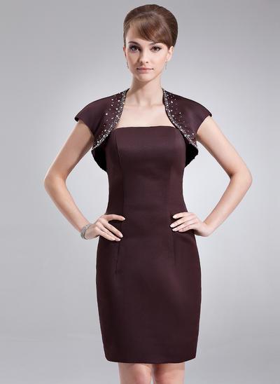 Satin Sleeveless Sheath/Column Bridesmaid Dresses Strapless Knee-Length (007000871)