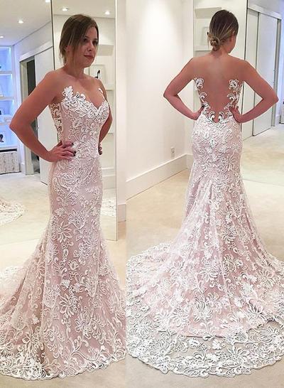 Modern Sweep Train Trumpet/Mermaid Wedding Dresses Sweetheart Lace Sleeveless (002148015)