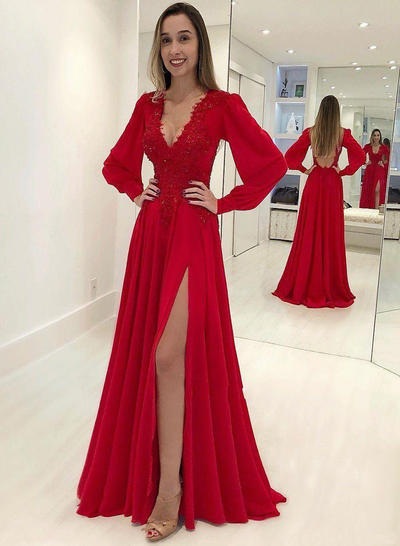Chiffon Long Sleeves A-Line/Princess Prom Dresses V-neck Appliques Lace Split Front Sweep Train (018218633)