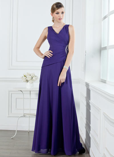 Chiffon Sleeveless A-Line/Princess Bridesmaid Dresses V-neck Ruffle Beading Floor-Length (007001053)