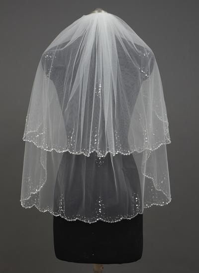 Fingerspitze Braut Schleier Tüll Zweischichtig Klassische Art mit Wellenkante Brautschleier (006151227)