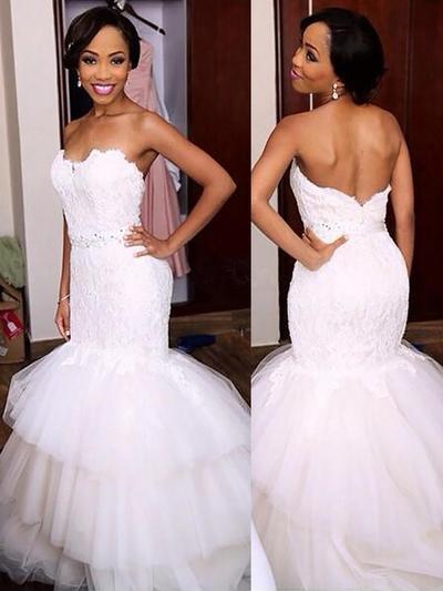 Gorgeous Sweep Train Trumpet/Mermaid Wedding Dresses Sweetheart Tulle Sleeveless (002148025)