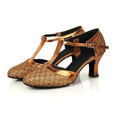 Women's Ballroom Heels Leatherette Sparkling Glitter With Buckle Dance Shoes (053180854)
