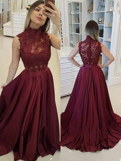 A-Line/Princess High Neck Satin Sleeveless Sweep Train Beading Appliques Lace Evening Dresses (017217857)