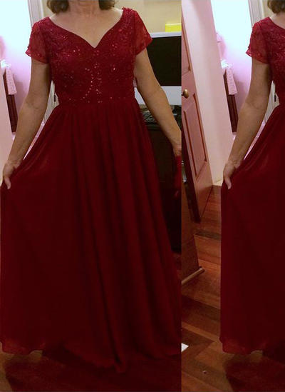 A-Line/Princess V-neck Chiffon Short Sleeves Floor-Length Beading Mother of the Bride Dresses (008212788)