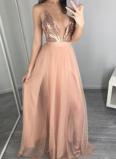 A-Line/Princess V-neck Tulle Sleeveless Floor-Length Evening Dresses (017145646)