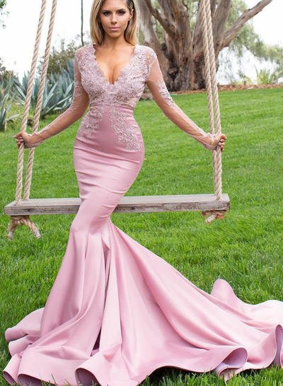 Charmeuse Long Sleeves Trumpet/Mermaid Prom Dresses V-neck Appliques Lace Sweep Train (018218136)