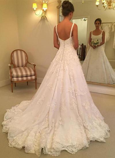 Fashion Court Train A-Line/Princess Wedding Dresses Square Tulle Sleeveless (002146925)