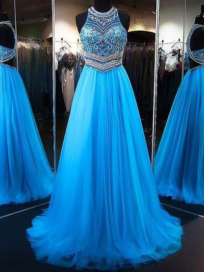 Tulle Sleeveless A-Line/Princess Prom Dresses Scoop Neck Beading Appliques Lace Sequins Sweep Train (018148416)