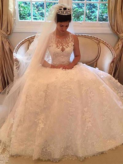 Fashion Court Train A-Line/Princess Wedding Dresses Scoop Tulle Sleeveless (002210846)