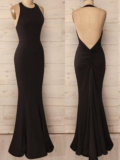 Jersey Sleeveless Trumpet/Mermaid Prom Dresses Halter Ruffle Floor-Length (018217280)