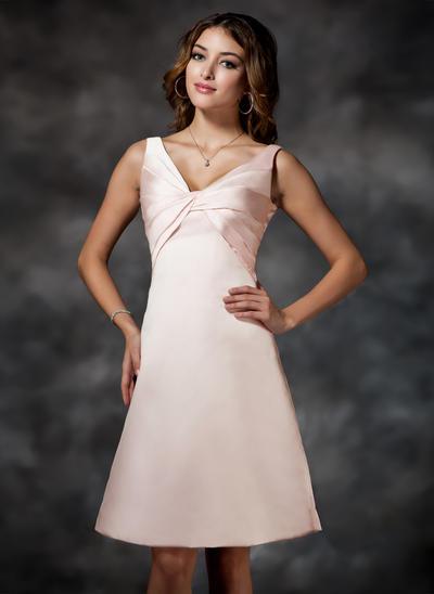 Satin Sleeveless Empire Bridesmaid Dresses V-neck Ruffle Knee-Length (007000919)