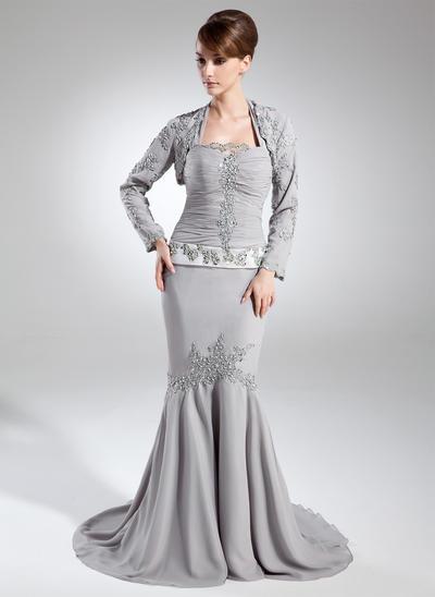 Trumpet/Mermaid Halter Chiffon Sleeveless Court Train Ruffle Beading Sequins Mother of the Bride Dresses (008005952)