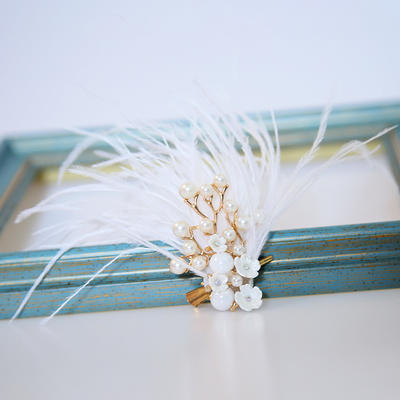 """Hairpins Wedding/Special Occasion Alloy/Imitation Pearls/Feather 3.94""""(Approx.10cm) 1.18""""(Approx.3cm) Headpieces (042158617)"""