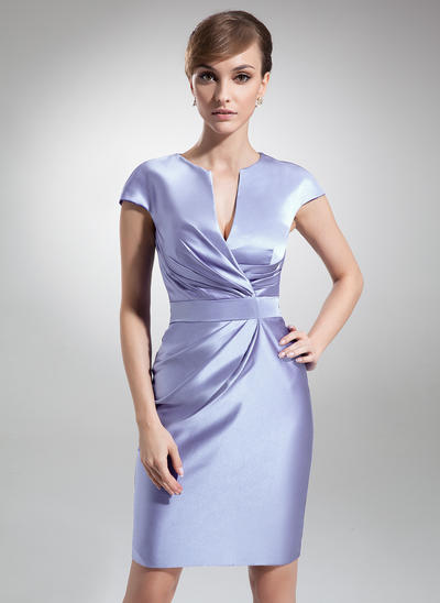 Sheath/Column V-neck Satin Short Sleeves Knee-Length Ruffle Mother of the Bride Dresses (008006208)