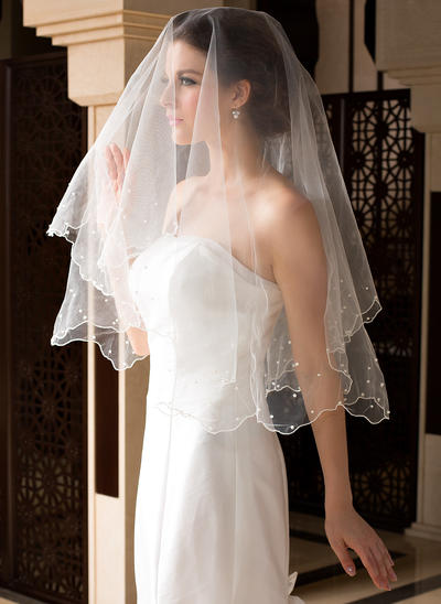 Waltz Bridal Veils Tulle One-tier Classic With Pearl Trim Edge/Scalloped Edge Wedding Veils (006151509)