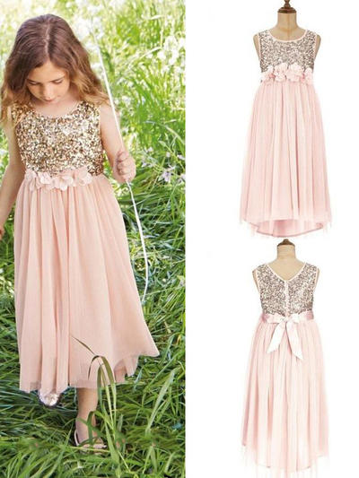 Beautiful Tea-length A-Line/Princess Flower Girl Dresses Scoop Neck Tulle/Sequined Sleeveless (010145209)