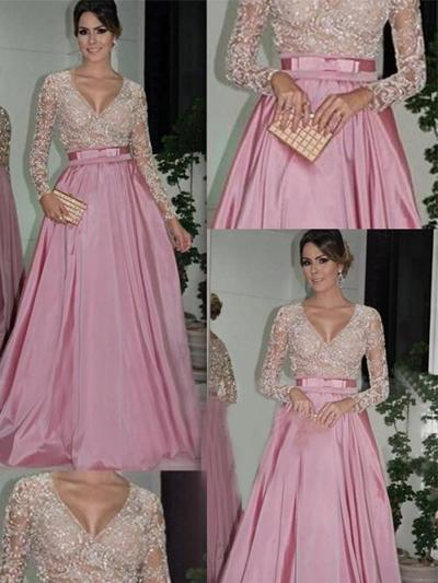 Taffeta Long Sleeves Ball-Gown Prom Dresses V-neck Lace Beading Floor-Length (018144666)