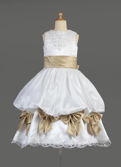 Stunning Tea-length Empire Flower Girl Dresses Scoop Neck Satin Sleeveless (010014610)