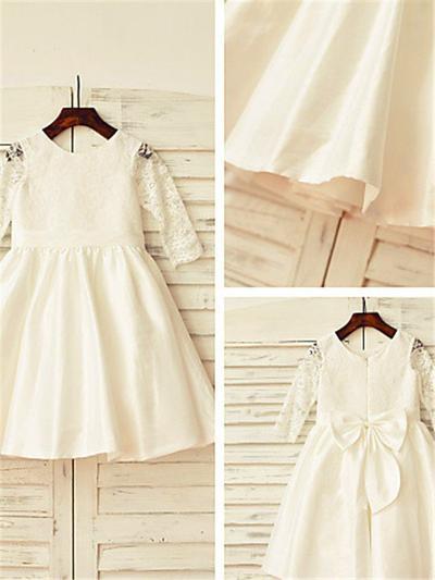 Modern Tea-length A-Line/Princess Flower Girl Dresses Scoop Neck Taffeta/Lace Long Sleeves (010211998)