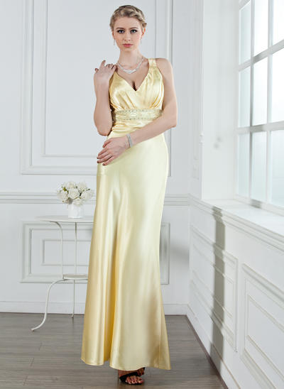A-Line/Princess V-neck Charmeuse Sleeveless Ankle-Length Ruffle Beading Evening Dresses (017002611)
