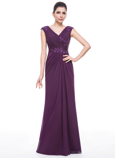 Trumpet/Mermaid V-neck Chiffon Sleeveless Floor-Length Ruffle Beading Appliques Lace Sequins Mother of the Bride Dresses (008210604)