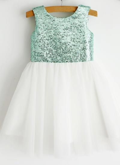 Sweetheart Knee-length Ball Gown Flower Girl Dresses Scoop Neck Tulle Sleeveless (010196732)