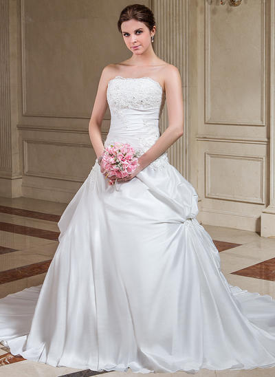 Magnificent Court Train A-Line/Princess Wedding Dresses Strapless Taffeta Sleeveless (002196860)
