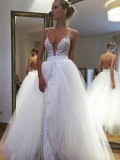 Newest Floor-Length A-Line/Princess Wedding Dresses Deep V Neck Tulle Lace Sleeveless (002210854)