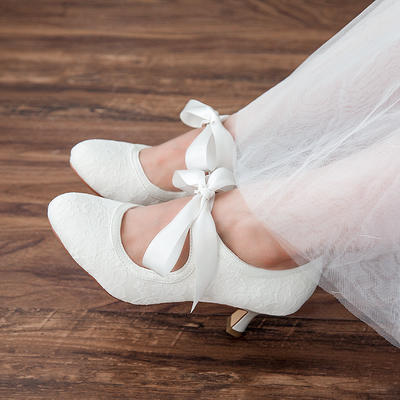 Women's Closed Toe Pumps Spool Heel Lace Satin With Bowknot Wedding Shoes (047208329)