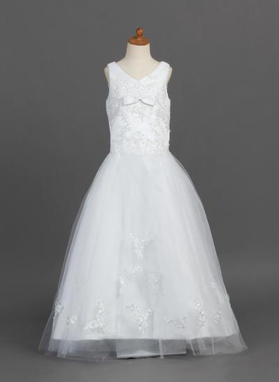 Magnificent Floor-length A-Line/Princess Flower Girl Dresses V-neck Satin/Tulle Sleeveless (010007487)