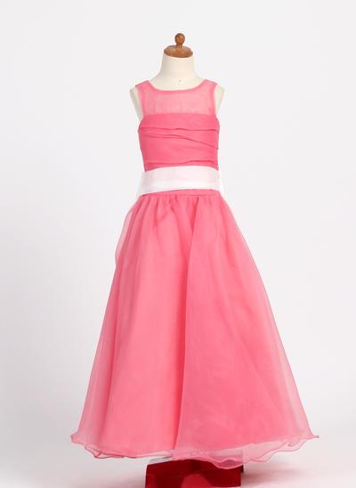 Chic Floor-length A-Line/Princess Flower Girl Dresses Scoop Neck Taffeta/Organza Sleeveless (010007718)