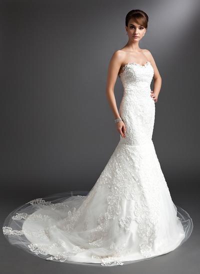 Stunning Chapel Train Trumpet/Mermaid Wedding Dresses Sweetheart Tulle Sleeveless (002196895)