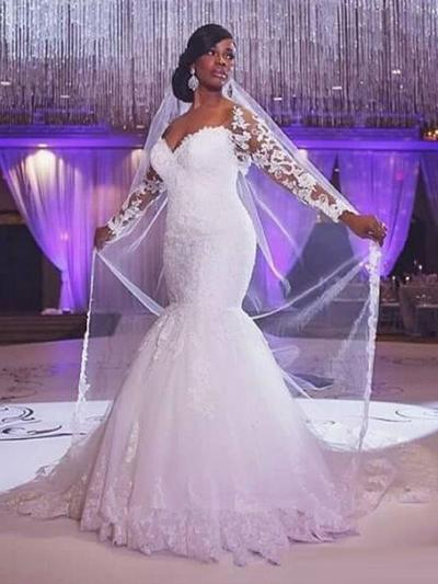Glamorous Court Train Trumpet/Mermaid Wedding Dresses Sweetheart Tulle Long Sleeves (002147793)
