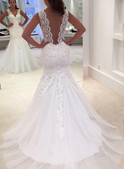 Magnificent Court Train Trumpet/Mermaid Wedding Dresses V-neck Tulle Sleeveless (002147817)