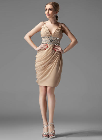 Sheath/Column V-neck Chiffon Sleeveless Knee-Length Ruffle Beading Cocktail Dresses (016211016)