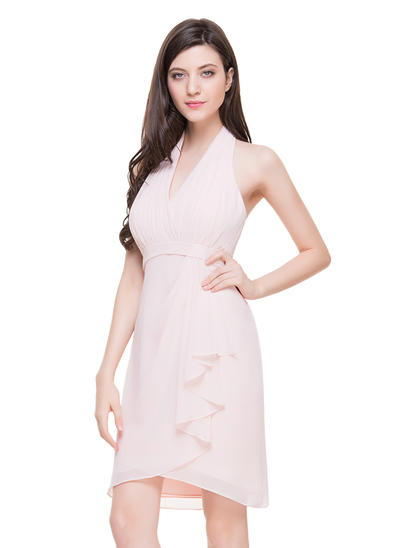 Sheath/Column Halter Chiffon Sleeveless Knee-Length Cascading Ruffles Cocktail Dresses (016211124)