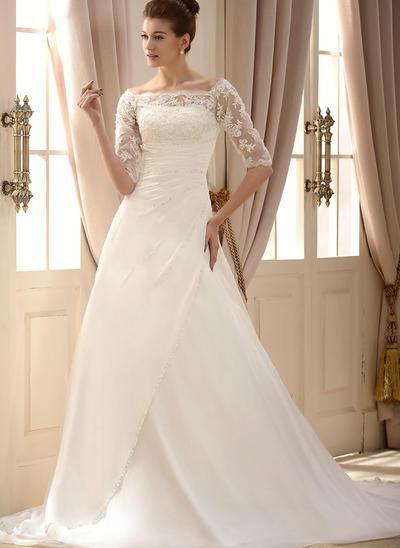 a-line square wedding dress