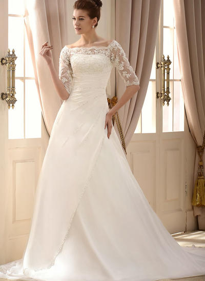 Magnificent Chapel Train A-Line/Princess Wedding Dresses Square Chiffon Half Sleeves (002147905)