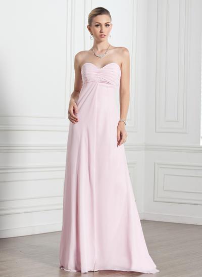 Empire Sweetheart Chiffon Sleeveless Floor-Length Ruffle Evening Dresses (017005269)