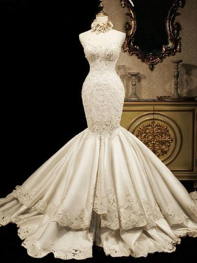 Newest Cathedral Train Trumpet/Mermaid Wedding Dresses Sweetheart Satin Sleeveless (002147847)